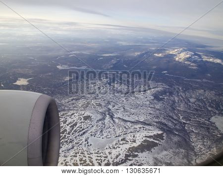 View from the airplane on the Kola Peninsula