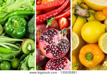 Collage of healthy raw fruits and vegetables produce