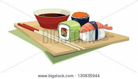 Cartoon Vector illustration of Sushi rolls flat food and  japanese seafood sushi rolls. Sushi rolls traditional seaweed fresh raw food.