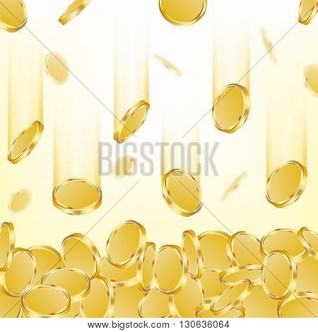 Vector background with falling golden coins.  vector illustration.