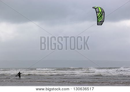 kitesurfer preparing to ride in the sea