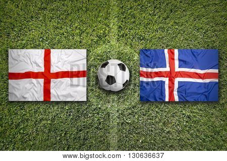 England Vs. Iceland Flags On Soccer Field