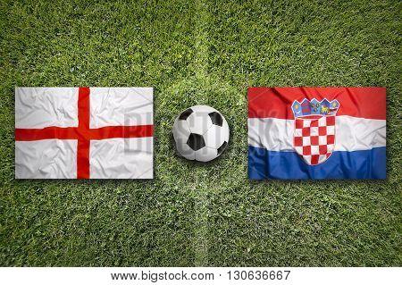 England Vs. Croatia Flags On Soccer Field
