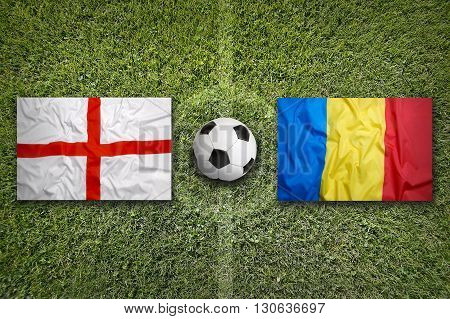 England Vs. Romania Flags On Soccer Field