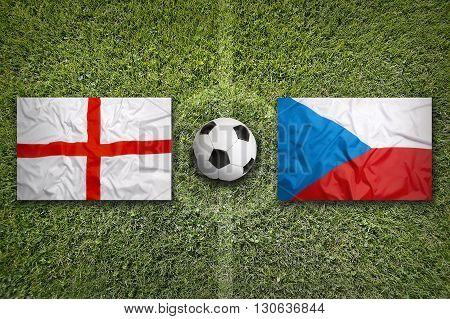 England Vs. Czech Republic Flags On Soccer Field