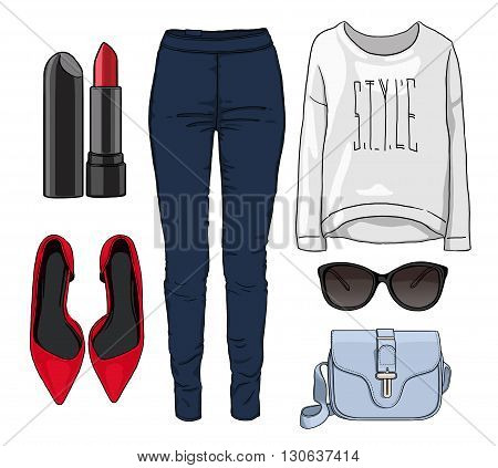 Lady fashion set of autumn, spring season outfit. Illustration stylish and trendy clothing. Denim, glasses, sweatshirt, shoes high heels.