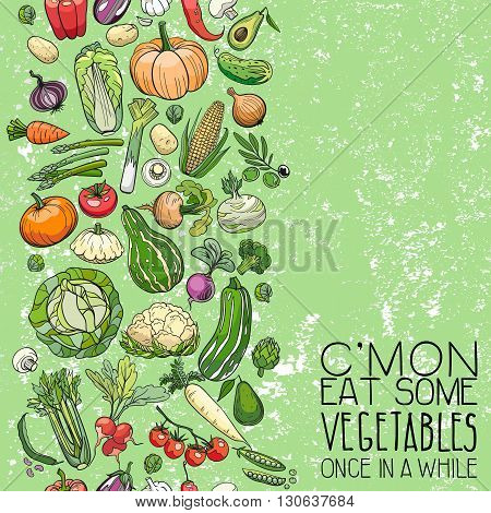background made of different hand drawn vegetables