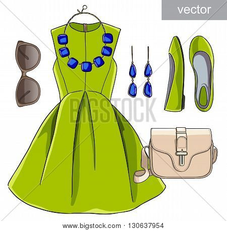 Lady fashion set of spring, winter season outfit. Illustration stylish and trendy clothing. Dress, bag, accessories, sunglasses, shoes. Vector