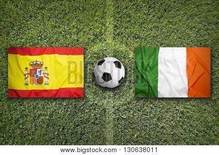 Spain Vs. Ireland Flags On Soccer Field