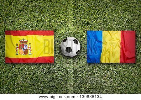 Spain Vs. Romania Flags On Soccer Field