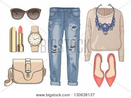 Lady fashion set of autumn, winter season outfit. Illustration stylish and trendy clothing. Denim, pants, sunglasses, necklace, scarf, shoes.