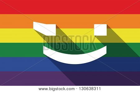 Long Shadow Gay Pride Flag With  A Wink Text Face Emoticon