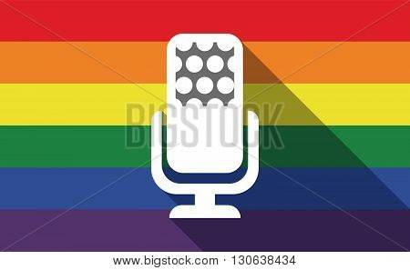 Long Shadow Gay Pride Flag With  A Microphone Sign