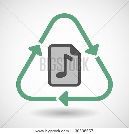 Line Art Recycle Sign Icon With  A Music Score Icon