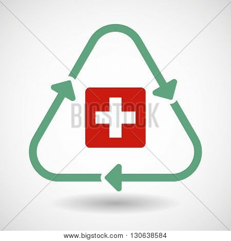 Line Art Recycle Sign Icon With   The Swiss Flag