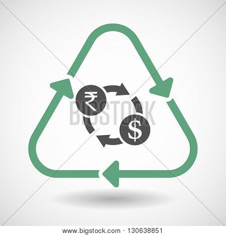 Line Art Recycle Sign Icon With  A Rupee And Dollar Exchange Sign