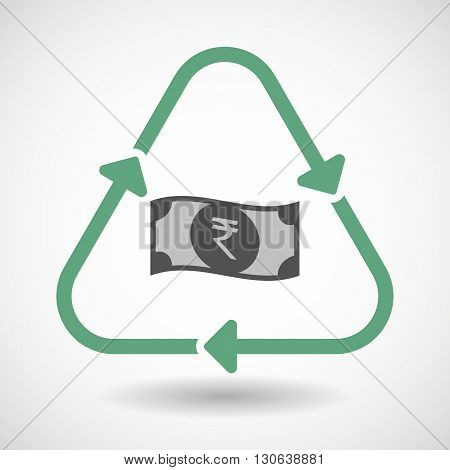 Line Art Recycle Sign Icon With  A Rupee Bank Note Icon