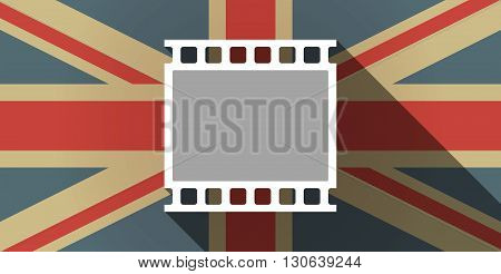 Long Shadow Uk Flag Icon With   A Photographic 35Mm Film Strip