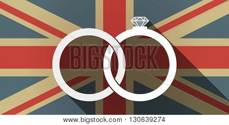 Long Shadow Uk Flag Icon With  Two Bonded Wedding Rings