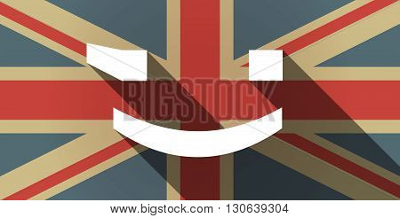 Long Shadow Uk Flag Icon With  A Wink Text Face Emoticon