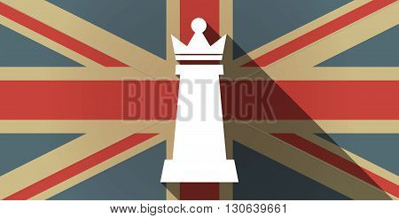 Long Shadow Uk Flag Icon With A  Queen   Chess Figure