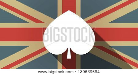 Long Shadow Uk Flag Icon With  The  Spade  Poker Playing Card Sign