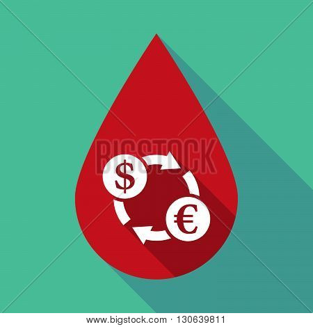 Long Shadow Blood Drop With A Dollar Euro Exchange Sign