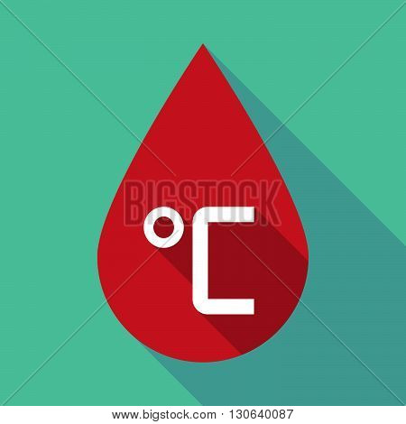 Long Shadow Blood Drop With  A Celsius Degree Sign