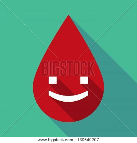 Long Shadow Blood Drop With A Smile Text Face