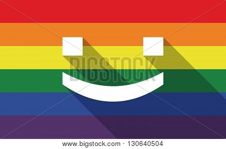 Long Shadow Gay Pride Flag With A Smile Text Face