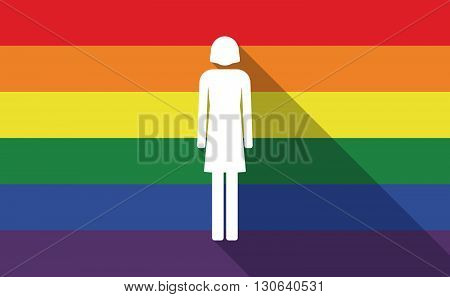 Long Shadow Gay Pride Flag With A Female Pictogram