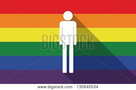 Long Shadow Gay Pride Flag With A Male Pictogram