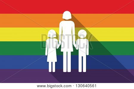 Long Shadow Gay Pride Flag With A Female Single Parent Family Pictogram