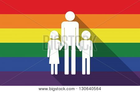 Long Shadow Gay Pride Flag With A Male Single Parent Family Pictogram