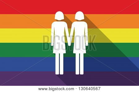 Long Shadow Gay Pride Flag With A Lesbian Couple Pictogram