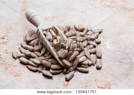 Sunflower Seeds On Wooden Scoop