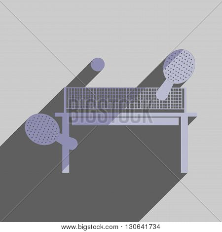 Flat icons with shadow of table tennis. Vector illustration