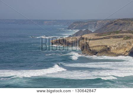 Waves In Arrifana Atlantic Sea Coast In Algarve, The South Of Portugal.