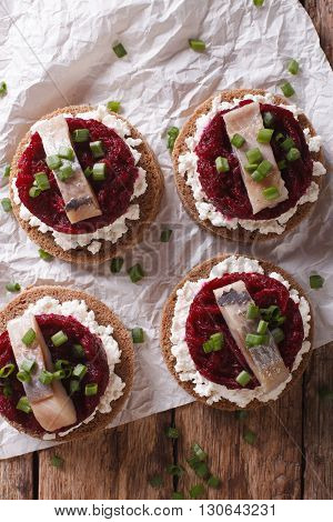 Small Sandwiches With Herring, Beetroot And Cream Cheese. Vertical Top View