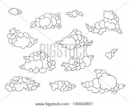 Hand Drawn Clouds Set
