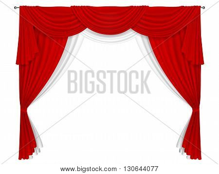 Classic red and white curtain. Curtains for decorating windows or in the theater scene. Curtain fabric forms creases and pelmets.