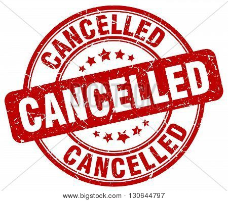 cancelled red grunge round vintage rubber stamp