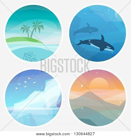 4 Landscape vector illustrations in low poly geometric style. Icons of tropical island underwater fauna iceberg mountains at sunset. Nature eco illustration