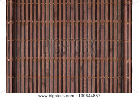 Bamboo mat twisted in the form of a manuscript Isolated on white background