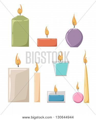 Vector illustration of a candle in a candle holder Flat style candles and flames vector collection.