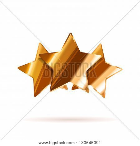 Three glossy bronze rating stars with shadow isolated on white