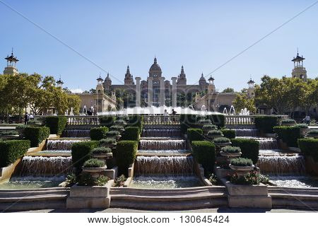 BARCELONA SPAIN - OCTOBER 07 2015: National Art Museum of Catalonia situated on Montjuic hill in Barcelona Spain