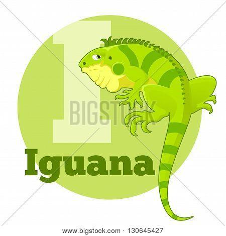 Vector image of the ABC Cartoon Iguana