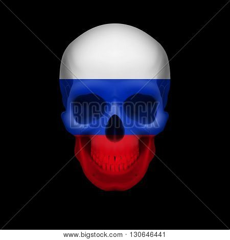 Human skull with flag of Russian Federation. Threat to national security war or dying out