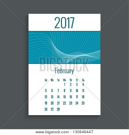 Monthly calendar for 2017. Planner. Template grid. Color blue.  Week Starts Sunday. Technology, technical vector. Futuristic high tech design. Months February.